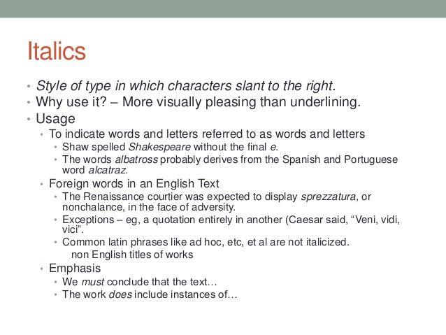 Essay quotations italics